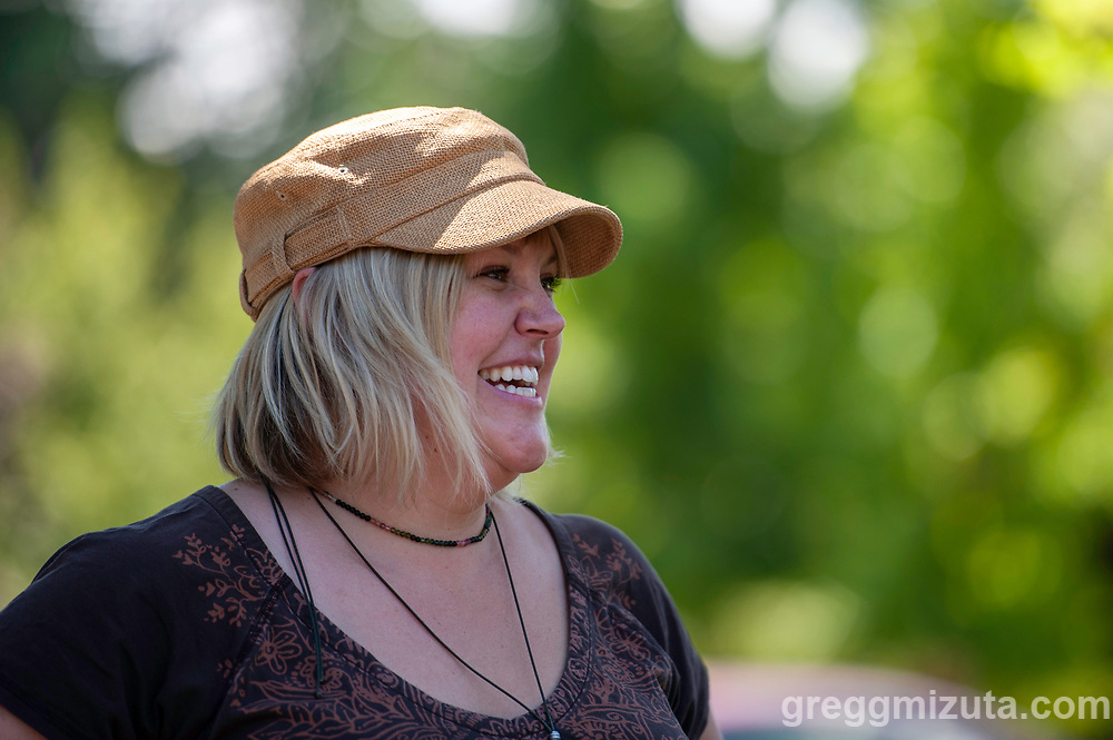 """Cassandra Schiffler. Wingtip Press, the City of Boise and Idaho Conservation League's  Print Boise River event at The Cabin, Boise, Idaho on July 13, 2019.<br />  <br /> Wingtip Press, the City of Boise ,and Idaho Conservation League partnered up to celebrate our love for the Boise River.<br /> <br /> This collaborative effort was directed by artist Amy Nack, founder of Wingtip Press and sponsored through a grant from Boise City Arts & History Department.<br /> <br /> PRINT BOISE RIVER participants carved fish, water images, birds and trees, adhered them to the bottom of flip flops and """"walked"""" their image along a 150' feet of paper. Each participant will become a public artist when the mural is displayed during Boise's First Thursday event in August 2019<br /> <br /> Lana Weber, ICL's Community Engagement Coordinator joined art makers to talk about the rivers contribution to our way of life in Boise."""