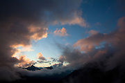 Sunset from the Cabane du Moiry, above the Glacier du Moiry, Switzerland.