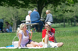 © Licensed to London News Pictures 01/06/2021. Bexley, UK. An ice cream picnic in the heat wave weather at Danson Park in Bexley, South East London. Photo credit:Grant Falvey/LNP