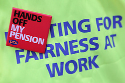 PCS Union slogans 'Hands off my Pension' and 'Fighting for fairness at work'