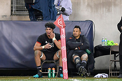 November 3, 2018 - Chicago, IL, U.S. - CHICAGO, IL - NOVEMBER 03: Maori All Blacks Ash Dixon (2) and Maori All Blacks Pari Pari Parkinson (5) watch from the sidelines after getting issued for penalties in action during the Rugby Weekend match between the New Zealand Maori All Blacks and the USA Eagles on November 3, 2018 at Soldier Field, in Chicago, Illinois.  (Photo by Robin Alam/Icon Sportswire) (Credit Image: © Robin Alam/Icon SMI via ZUMA Press)