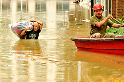 July 2, 2017 - Nanning, Nanning, China - Nanning, CHINA-July 2 2017: (EDITORIAL USE ONLY. CHINA OUT)..People row in the flooded area in Nanning, southwest China's Guangxi, June 2nd, 2017. Many regions are flooded after continuous rain in Guangxi. (Credit Image: © SIPA Asia via ZUMA Wire)