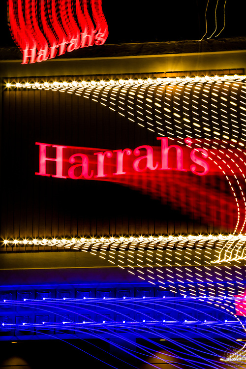 """""""Tahoe Lights 13"""" - Photograph taken at the Lake Tahoe southern state line casinos. The look was achieved by shooting a handheld long exposure and zooming the lens during the exposure."""
