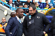 Huddersfield Town Manager Chris Powell (l) and Derby County Manager Paul Clement chat prior to kick off. Skybet football league Championship match, Huddersfield Town v Derby county at the John Smith's Stadium in Huddersfield , Yorkshire on Saturday 24th October 2015.<br /> pic by Chris Stading, Andrew Orchard sports photography.