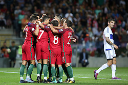 August 31, 2017 - Porto, Portugal - Portugal's midfielder William Carvalho celebrates with teammates after scoring during the 2018 FIFA World Cup qualifying football match between Portugal and Faroe Islands at the Bessa XXI stadium in Porto, Portugal on August 31, 2017. (Credit Image: © Pedro Fiuza/NurPhoto via ZUMA Press)