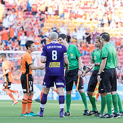 BRISBANE, AUSTRALIA - OCTOBER 30: Matt McKay of the roar and Rostyn Griffiths of the Glory shake hands with the referees before the round 4 Hyundai A-League match between the Brisbane Roar and Perth Glory at Suncorp Stadium on October 30, 2016 in Brisbane, Australia. (Photo by Patrick Kearney/Brisbane Roar)