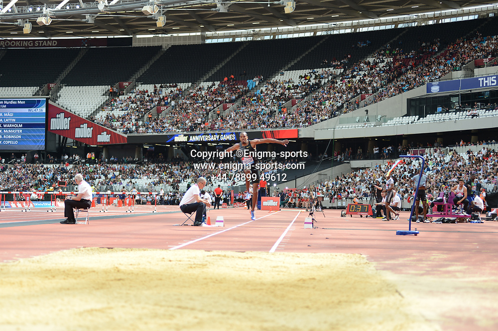 Hugues Zango competes in the men's triple jump during the IAAF Diamond League at the Queen Elizabeth Olympic Park London, England on 20 July 2019.