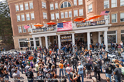 Before the Buffalo Chips Legends Ride on Main Street in Deadwood during the annual Sturgis Black Hills Motorcycle Rally. Deadwood, SD, USA. Monday August 7, 2017.  Photography ©2017 Michael Lichter.