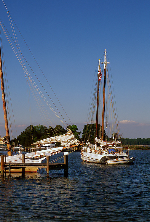 St. Michaels, Maryland--Fishing boats known as skipjacks are mored in the waters of the Miles River. Once a fleet of over two thousand skipjacksexisted to harvest the oysters of the Chesapeake Bay. Today there about thirty skipjacks.The skipjack was designated the state boat of Maryland in 1985.