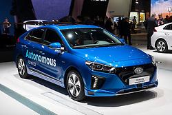 Hyundai Ioniq Autonomous driving concept vehicle at 87th Geneva International Motor Show in Geneva Switzerland 2017