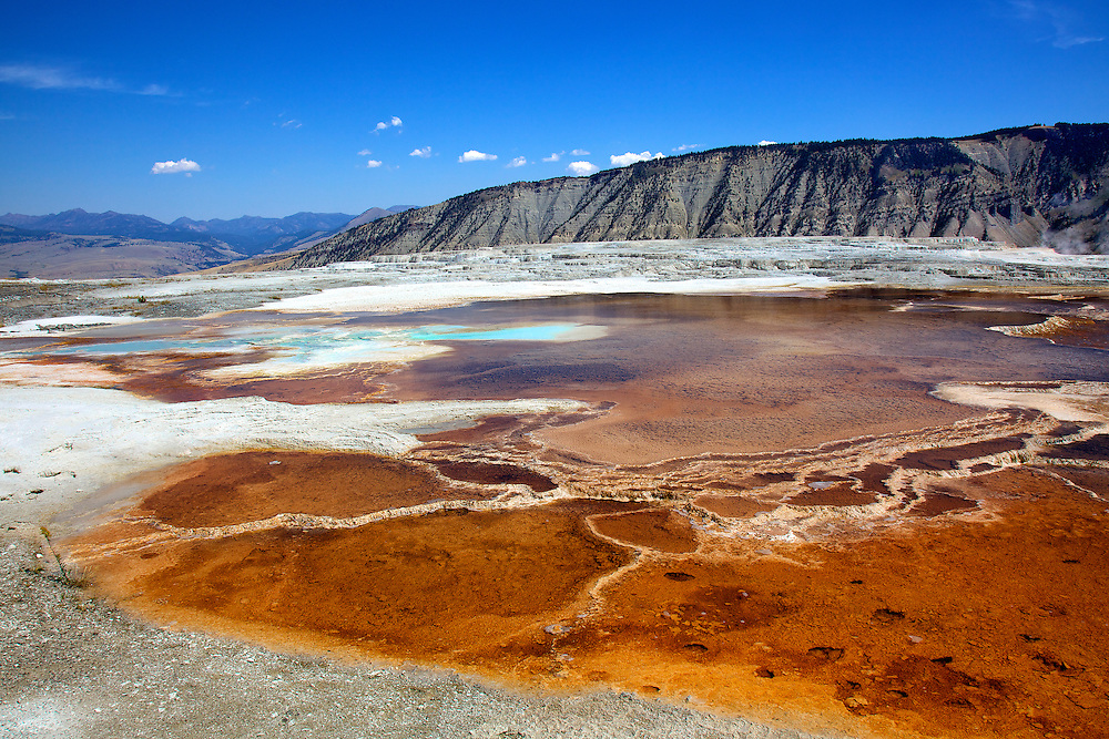 The Main Terrace of the Mammoth Hot Springs area of Yellowstone National Park, WY, is both colorful and otherworldly.