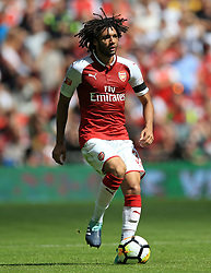 """Arsenal's Mohamed Elneny during the Community Shield at Wembley, London. PRESS ASSOCIATION Photo. Picture date: Sunday August 6, 2017. See PA story SOCCER Community Shield. Photo credit should read: Nigel French/PA Wire. RESTRICTIONS: EDITORIAL USE ONLY No use with unauthorised audio, video, data, fixture lists, club/league logos or """"live"""" services. Online in-match use limited to 75 images, no video emulation. No use in betting, games or single club/league/player publications."""