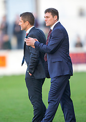 Linlithgow Rose manager Danny Smith and Raith Rovers Player-Coach Grant Murray at the end.<br /> Linlithgow Rose 0 v 2 Raith Rovers, William Hill Scottish Cup Third Round game player today at Prestonfield.
