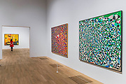 The Arena of the Sun, 1954, and Untitlded, 1950,s - Princess Fahrelnissa Zeid: the UK's first retrospective of a pioneering artist best known for her large-scale colourful canvases, fusing European approaches to abstract art with Byzantine, Islamic and Persian influences. The exhibition is at Tate Modern from 13 June – 8 October 2017.