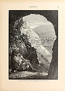 Man with rifle in the Cave of Adullam overlooking the Valley and Ruins of Khureitun [Wadi Khureitun named after Saint Chariton the Confessor, or Tekoa Valley] from the book Picturesque Palestine, Sinai, and Egypt By  Colonel Wilson, Charles William, Sir, 1836-1905. Published in New York by D. Appleton and Company in 1881  with engravings in steel and wood from original Drawings by Harry Fenn and J. D. Woodward Volume 1