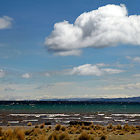 South America, Peru, Lake Titicaca. Clouds over Lake Titicaca near Puno.