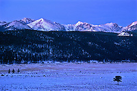 Moraine Park and the Front Range Mountains during winter.  Rocky Mountain National Park, Colorado.  Photo taken about 10 minutes before sunrise.
