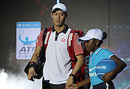 during the Semi Final of Barclays ATP World Tour 2014 between Serbia's Novak Djokovic and Japan's Kei Nishikori, O2 Arena, London, United Kingdom on 15th November 2014 © Pro Sports Images