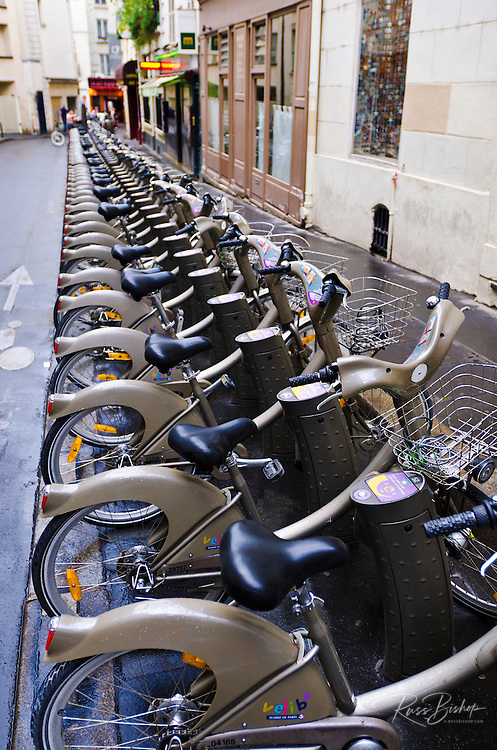 Velib bicycles for rent, Paris, France