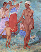 Morning: Bathers', 1917. Oil on canvas.  Kuzma Petrov-Vodkin (1878-1939) Russian painter.  Women paartly and fully dressed.  Woman and small boy naked. Nude Female Male