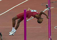 Athletics - 2017 IAAF London World Athletics Championships - Day Ten, Evening Session<br /> <br /> Mens High Jump Final <br /> <br /> Mutaz Essa Barshim (Qatar) Clears the bar to take the Gold medal at the London Stadium<br /> <br /> COLORSPORT/DANIEL BEARHAM
