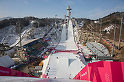 The drop in for the ladies big air qualification during the Pyeongchang Winter Olympics 2018 on February 19th 2018, at the Alpensia Ski Jumping Centre, South Korea