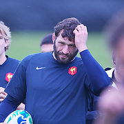 French player Lional Nallet (centre) at the French teams training session at Onewa Domain, Auckland in preparation for the Rugby World Cup Final against New Zealand at the IRB Rugby World Cup tournament, Auckland, New Zealand, 19th October 2011. Photo Tim Clayton...