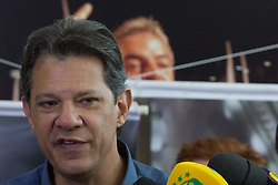 October 3, 2018 - Sao Paulo, Sao Paulo, Brazil - FERNANDO HADDAD, Brazil's presidential candidate by Workers Party (PT), during a press conference in Sao Paulo. (Credit Image: © Paulo Lopes/ZUMA Wire)