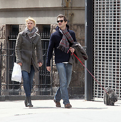 U.S actress Claire Danes walking with her husband actor Hugh Dancy on her birthday with their dog Weegee in Soho, New York City, NY, USA on April 12, 2012. Photo by Charles Guerin/ABACAPRESS.COM  | 316458_009