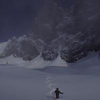 The Dru & 'le pas de chevres ski run. <br /> Skier, Jean Franck Charlet