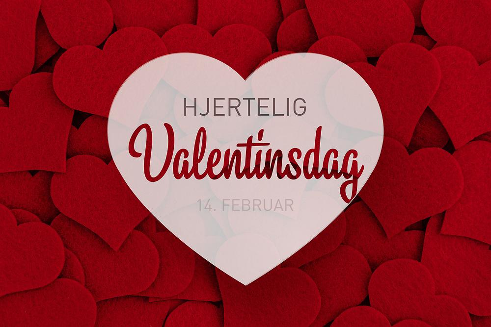 Norsk tekst «Hjertelig Valentinsdag 14. februar» i et hvitt hjerte over seng av røde hjerter. Bildet er spesielt egnet for butikker som ønsker å gi kundene en påminnelse opp mot Alle hjerters dag. Utmerket til bruk i både til print og i sosiale medier som Facebook og Instagram.