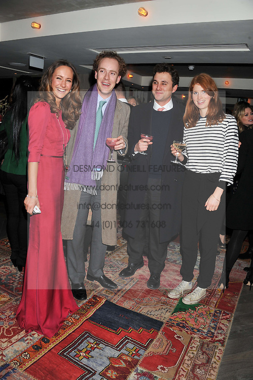 Left to right, LAVINIA BRENNAN, TOM INSKIP, THOMAS VAN STRAUBENZEE and LARA HUGHES-YOUNG at the Beulah AW13 Showcase, Bungalow 8 LFW Pop-Up at Belgraves - A Thompson Hotel, 20 Chesham Place, London SW1 on 13th February 2013.