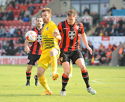 Matt Taylor of Bristol Rovers is challenged by Adam Dugdale of Morecambe - Mandatory byline: Neil Brookman/JMP - 07966 386802 - 03/10/2015 - FOOTBALL - Globe Arena - Morecambe, England - Morecambe FC v Bristol Rovers - Sky Bet League Two
