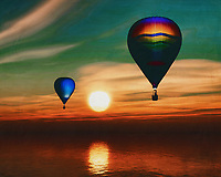 During sunset, two hot air balloons sail over the sea.<br /> Bring the atmosphere of the sea and the sense of freedom of travel into your home with a hot air balloon. This work is available in various sizes and materials. This painting easily brings the atmosphere of the sea to your home. This coastal scene can be printed in different sizes and on different materials. Both on canvas, wood, metal or framed so it certainly fits into your interior. –<br /> -<br /> BUY THIS PRINT AT<br /> <br /> FINE ART AMERICA / PIXELS<br /> ENGLISH<br /> https://janke.pixels.com/featured/hot-air-balloons-sail-over-the-sea-jan-keteleer.html<br /> <br /> <br /> WADM / OH MY PRINTS<br /> DUTCH / FRENCH / GERMAN<br /> https://www.werkaandemuur.nl/nl/shopwerk/Hete-luchtballonnen-varen-over-de-zee/778273/132?mediumId=15&size=70x55<br /> –<br /> -