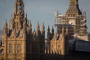 The Elizabeth Tower that holds the now silent Big Ben bell, along with the the Houses of Parliament, are covered in scaffolding,  on 1st December 2017, in Westminster, London, England. The bell will remain silent during this renovation by contractor Sir Robert McAlpine until 2021 and the estimated cost of repairing the tower and other parts of the 19th century Gothic building, has doubled to £61m, authorities have said.