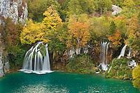 Waterfalls in autumn, Milanovac lake, Lower lakes, Plitvice National Park, Croatia