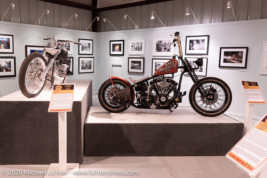 Taber Nash's 1157, custom Harley-Davidson Shovelhead in the Heavy Mettle - Motorcycles and Art with Moxie exhibition at the Sturgis Buffalo Chip. This is the 2020 iteration of the annual Motorcycles as Art series curated and produced by Michael Lichter. Sturgis, SD, USA. Thursday, August 6, 2020. Photography ©2020 Michael Lichter.
