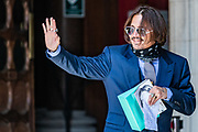 "American actor Johnny Depp arrives the High Court in London, Friday, July 17, 2020. Depp is in the trial against ""THE SUN,"" a tabloid newspaper that accused him of abusing ex-wife Amber Heard. The Hollywood star is suing News Group Newspapers, publisher of The Sun, and the paper's executive editor, Dan Wootton, over an April 2018 article that called him a ""wife-beater."" (VXP Photo/ Vudi Xhymshiti)"