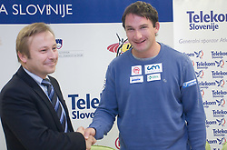 Peter Kukovica and Primoz Kozmus when Slovenian athletes and their coaches sign contracts with Athletic federation of Slovenia for year 2009,  in Ljubljana, Slovenia, on March 2, 2009. (Photo by Vid Ponikvar / Sportida)