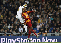 November 6, 2019, Madrid, Spain: Real Madrid CF's Rapahel Varane and Galatasaray's Marcao (Marcos do Nascimento Teixeira) competes for the ball during the UEFA Champions League match between  Real Madrid and Galatasaray SK at the Santiago Bernabeu in Madrid. (Credit Image: © Manu Reino/SOPA Images via ZUMA Wire)
