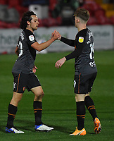 Hull City's George Honeyman is congratulated on scoring his team's first goal<br /> <br /> Photographer Dave Howarth/CameraSport<br /> <br /> The EFL Sky Bet League One - Fleetwood Town v Hull City - Friday 9th October 2020 - Highbury Stadium - Fleetwood<br /> <br /> World Copyright © 2020 CameraSport. All rights reserved. 43 Linden Ave. Countesthorpe. Leicester. England. LE8 5PG - Tel: +44 (0) 116 277 4147 - admin@camerasport.com - www.camerasport.com