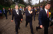 Liberal Democrat leader Paddy Ashdown strides while campaigning in Richmond, on 17th March 1992 in London, England. With a total of 22 seats won 22.6%  of the vote,  the Lib Dems came third in the 92 election after the re-election victory by John Majors Conservatives.