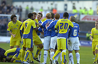 Photo: Matt Bright.<br /> Brighton and Hove Albion v Leeds United. Coca Cola League 1. 20/10/2007.<br /> Teams clash over an off  the ball incident