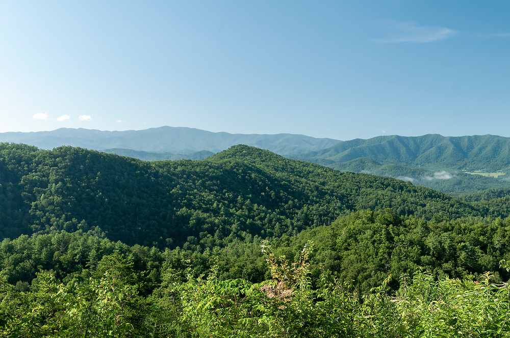 View of Thunderhead Mountain (left), Allie Mountain (center), and Scott Mountain (right) at the Thunderhead Mountain Overlook on the Foothills Parkway in Great Smoky Mountains National Park in Wears Valley, Tennessee on Wednesday, August 12, 2020. Copyright 2020 Jason Barnette