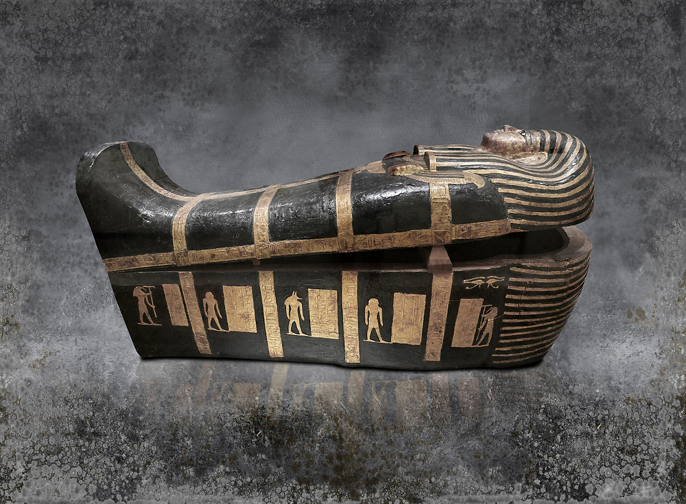 Acient Egyptian sacophagus of Kha - outer coffin from  tomb of Kha, Theban Tomb 8 , mid-18th dynasty (1550 to 1292 BC), Turin Egyptian Museum. .<br /> <br /> Visit our HISTORIC WALL ART PRINT COLLECTIONS for more photo prints https://funkystock.photoshelter.com/gallery-collection/Historic-Antiquities-Photo-Wall-Art-Prints-by-Photographer-Paul-E-Williams/C00002uapXzaCx7Y<br /> <br /> Visit our Museum ART & ANTIQUITIES COLLECTIONS to browse more photo at: https://funkystock.photoshelter.com/p/museum-antiquities