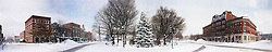 Winter snow storm panorama of Central Square, Keene, New Hampshire.