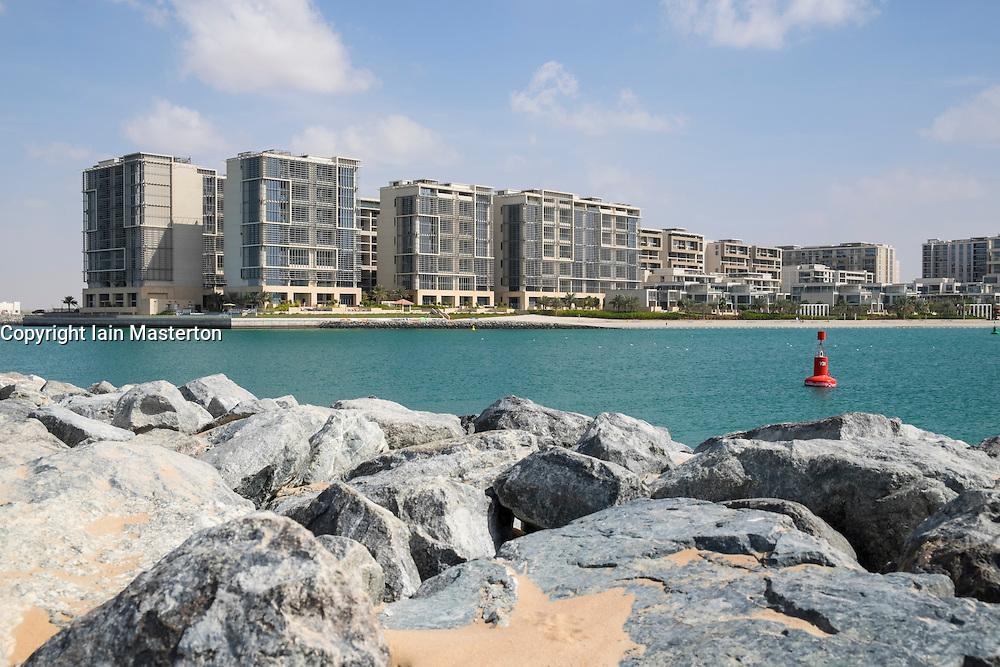 Modern residential apartment buildings at Al Zeina Beach at Al Raha Beach district in Abu Dhabi United Arab Emirates