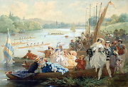 Regatta at Asnieres during the Second Empire. Watercolour and gouache on paper.  Anthony Paul Emile Moron (active 1868-1905) French painter. France River Landscape Rowing Water Flirting Men Women