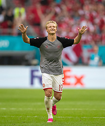 AMSTERDAM, THE NETHERLANDS - Saturday, June 26, 2021: Denmark's Kasper Dolberg celebrates after the UEFA Euro 2020 Round of 16 match between Wales and Denmark at the  Amsterdam Arena. Denmark won 4-0. (Photo by David Rawcliffe/Propaganda)