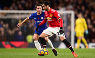 Henrikh Mkhitaryan of Manchester United in action. .Premier league match, Chelsea v Manchester United at Stamford Bridge in London on Sunday 5th November 2017.<br /> pic by Andrew Orchard sports photography.